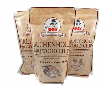 Räucherchips, BBQ Wood-Chips von Mr. BBQ® in BUCHE, ERLE oder HICKORY